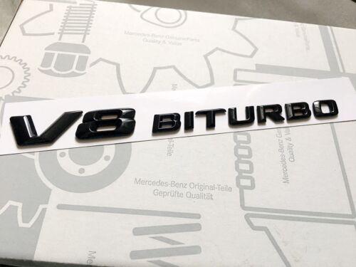1 X V8 BITURBO Gloss Black BADGE FOR MERCEDES AMG C63 E63 S63 ML63 SL63 SL55 CLK
