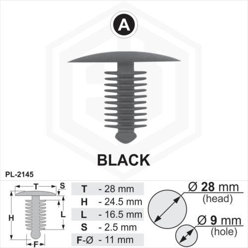 10x en plastique noir sapin TRIM CLIPS Spruce 9 mm trou 28 mm tête de voiture van Fixations