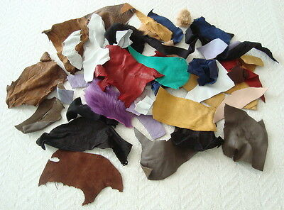ASSORTED  LEATHER OFFCUTS-- TOYMAKING, COLLAGES, CRAFTS. #3005