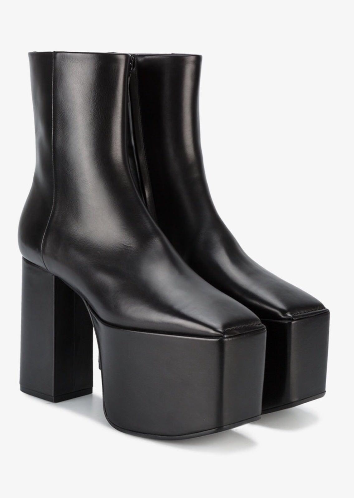 Balenciaga Black Leather Platform Boots