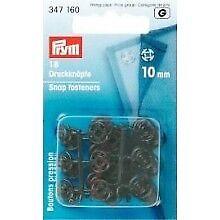 Prym Annäh- Druckknöpfe 10 mm schwarz 18 Stück zum annähen Kunststoff 347160