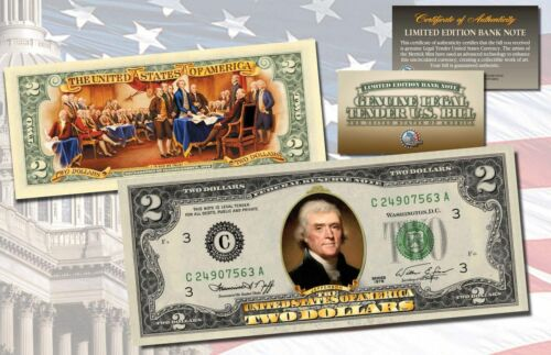 """W//H COA! 1976 BICENTENNIAL /""""DECLARATION OF INDEPENDENCE/"""" COLORIZED $2 BILL"""