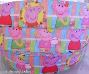 PEPPA-PIG-character-Grosgrain-Ribbon-1-034-Cake-Clip-Card-Craft-2-yds-5-yds