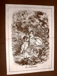 Incisione-del-1865-Fantasia-sull-039-estate-Ragazza-e-ragazzi-giocano-tra-i-boschi