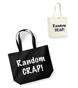 Random Crap Cotton Shopping Bag//Tote Novelty//Funny Secret Santa Gift