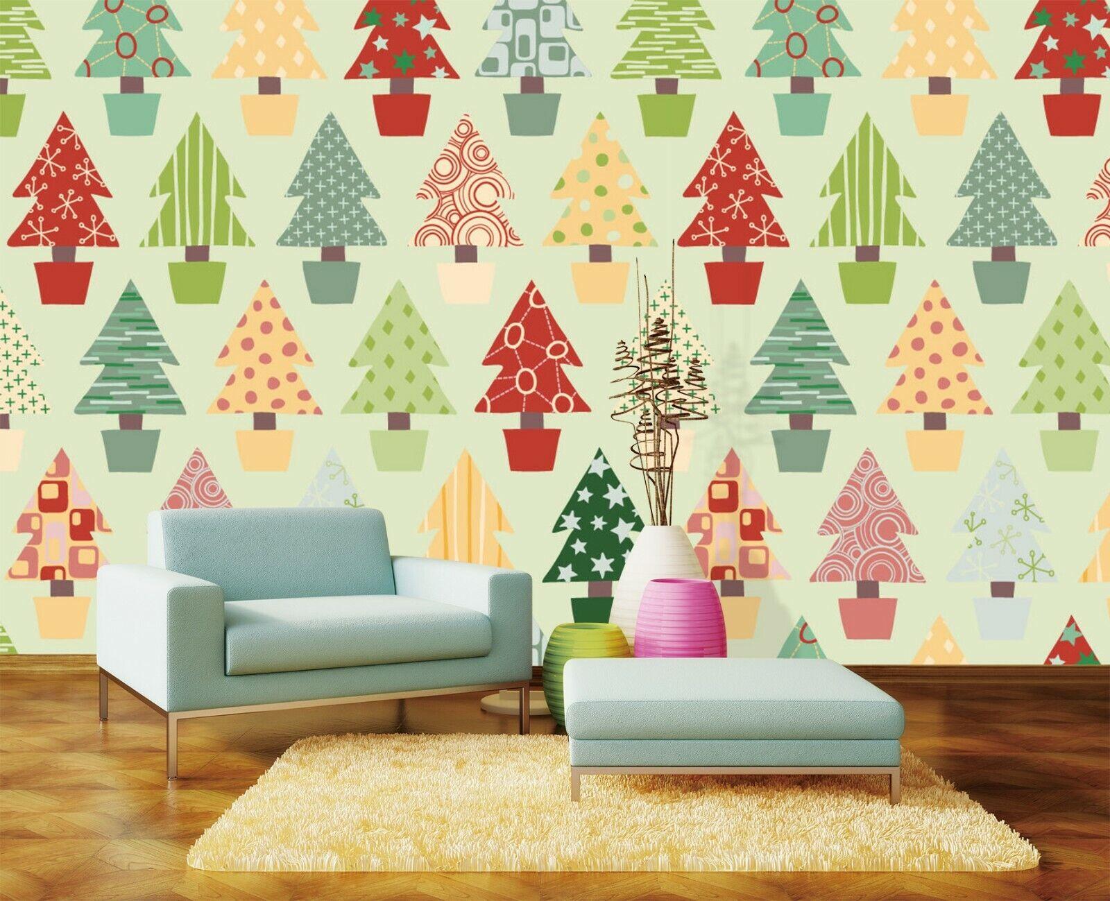 3D Farbe Baum H650 Christmas Tapete Wandbild Selbstklebend Abnehmbare Amy