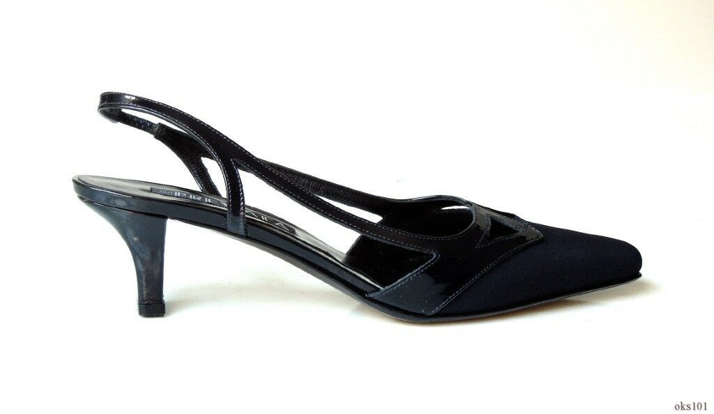 New    380 PREVATA 'Dipper' navy cut-outs slingbacks shoes   6 - gorgeous 3aaf1a
