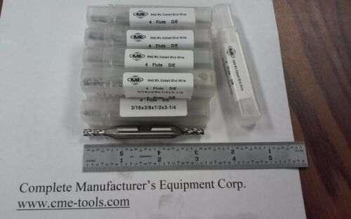 "3//16/"" M42 cobalt double end end mills 4 flt 10pc for $68.00 #1009-CO-316DE--new"