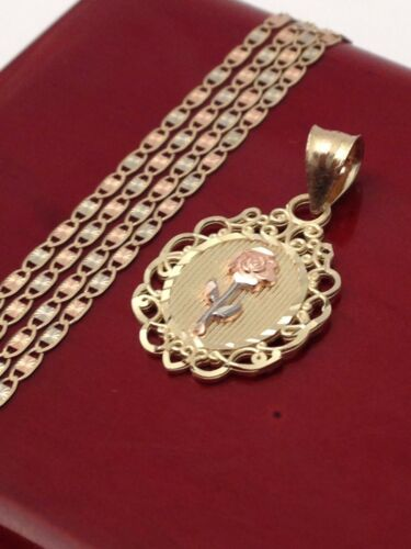 """Real 14k Yellow Rose Gold Flower Brooch Charm Pendant Valentino chain 18/"""" Inch"""