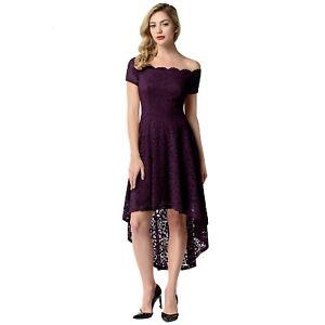 10231040fd74 Women Floral Lace Off the Shoulder Midi Hi-Lo Dress Wedding Cocktail ...