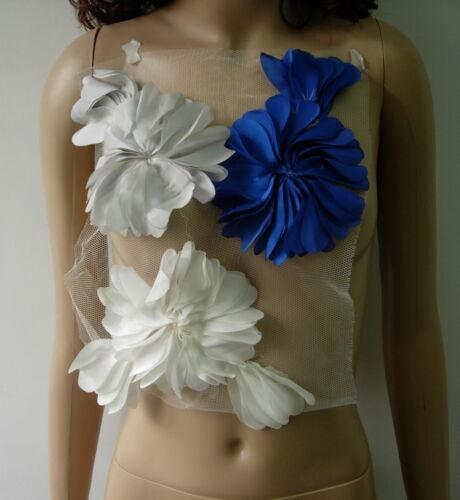 FN229 Frayed Shabby Flowers Chiffon Applique Blue Grey Cream Design//Sewing//Trims