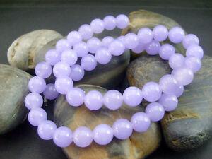 New-Genuine-8mm-Natural-Smooth-Lavender-Jade-Round-Gemstone-Loose-Beads-15-034-AAA