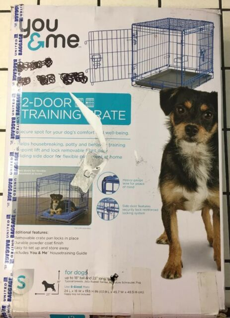 You & Me 2-Door Folding Training Dog Crate (Small-24 L x 18 W x 19 5 H  Inches)