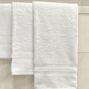 6  NEW WHITE 100% COTTON HOTEL BATH TOWELS DOUBLE CAM 20X40 GA TOWELS