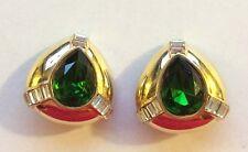 Rare CINER Jewels Huge Green Clear Baguette Rhinestone Goldtone Clip On Earrings