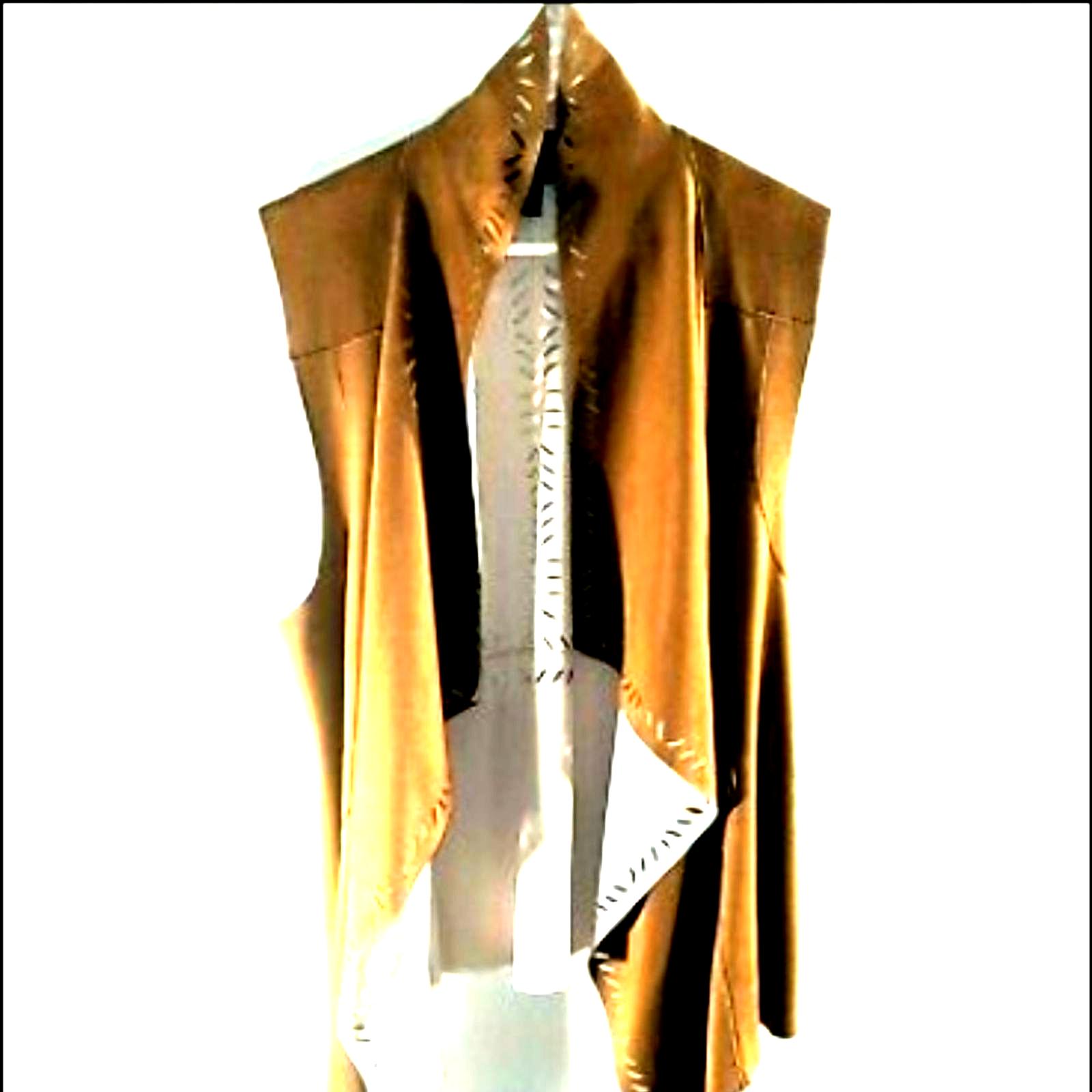 Jessica Simpson vest open front hi low brown eyelet punchout Western 1X 386