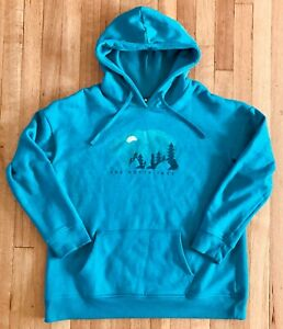 THE-NORTH-FACE-PULLOVER-HOODIE-WOMEN-039-S-LARGE-TURQUOISE-BLUE-NICE-GRAPHICS