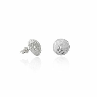 Earring Sterling Silver 925 8mm hammered disc stud earrings Studs