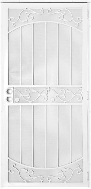 Unique Home White Mount Outswing Steel Security Door W/ Perforated Metal  Screen