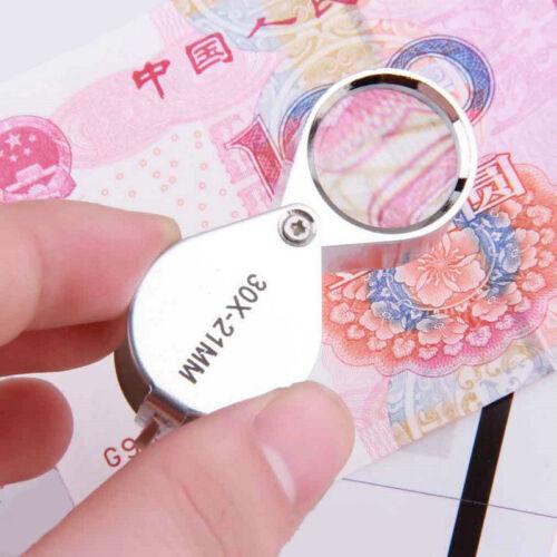 Juwelier-lupe 30 x 21mm Glas Legierung Schmuck Antik Vergrößerungsglas N4D2