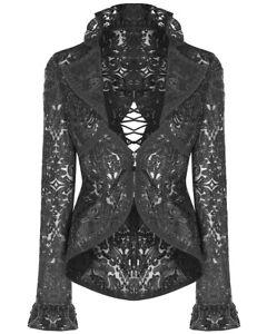Punk-Rave-Womens-Gothic-Lace-Riding-Jacket-Black-Victorian-Steampunk-Baroque-VTG