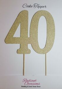 Image Is Loading 40 Cake Topper Glitter 40th Birthday Number