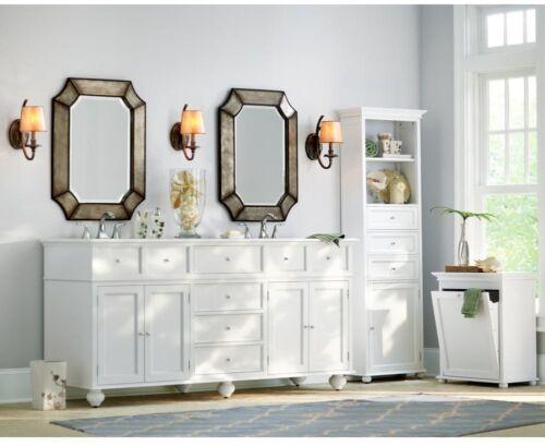 Bathroom Linen Storage Cabinet Brown Wood 2 Open Shelves Organizer 3 Drawers