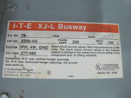 WARRANTY 200 Amp Copper Bus Duct 3 POLE 4 WIRE W//GROUND Siemens X2004G