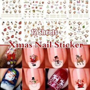 12Sheets-Christmas-3D-Nail-Art-Stickers-Snowflakes-amp-Cute-Snowmen-Nail-Decals