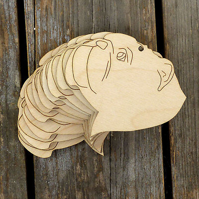 10x Wooden English Bull Terrier Dog Head Craft Shapes 3mm Plywood