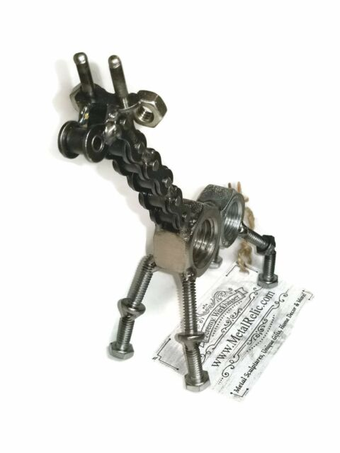 Scrap Metal Art Steel Giraffe Figurine Welded From Nuts And Bolts For Sale Online Ebay