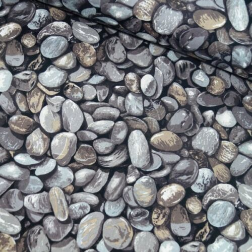 100/% Cotton Patchwork Fabric Nutex Loads Of Pebbles Rocks Stones Shingles Beach