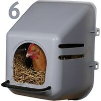 6 PACK LARGE WALL MOUNT NESTING NEST BOX & PERCH CHICKEN COOP HEN HOUSE POULTRY
