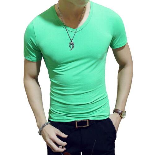 Men Summer T-Shirt Short Sleeve V Neck Solid Color Tops Gym Fitness Casual Shirt