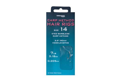 "Drennan Match /& Coarse Fishing /""Carp Method/"" Hair Rigs All Sizes"