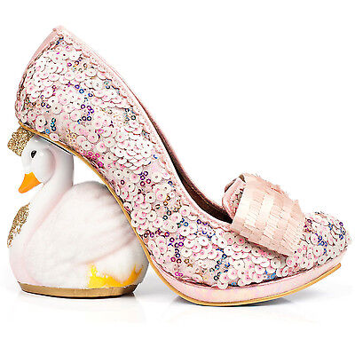 Irregular Choice Savan Pink Sequin Swan Unique Prom Wedding Collectable Shoes UK