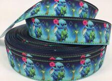 BTY 1 Inch Disney Blue Stitch Grosgrain Ribbon Hair Bows Scrapbook Lanyards Lisa
