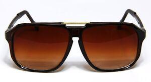 6106353135f Retro Aviator Sunglasses Brown Vintage Flat Top Hip Hop Big Turbo ...