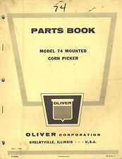 Oliver Vintage 74 Mounted Corn Picker Parts Manual 1963