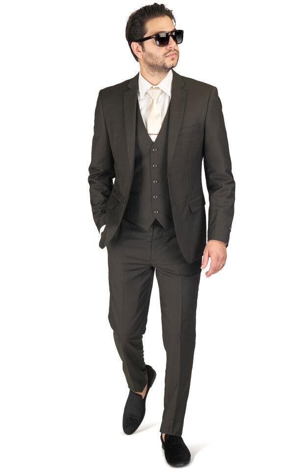 Olive Grün Slim Fit Suit Tuxedo 2 Button Notch lapel Vest Optional Fitted AZAR
