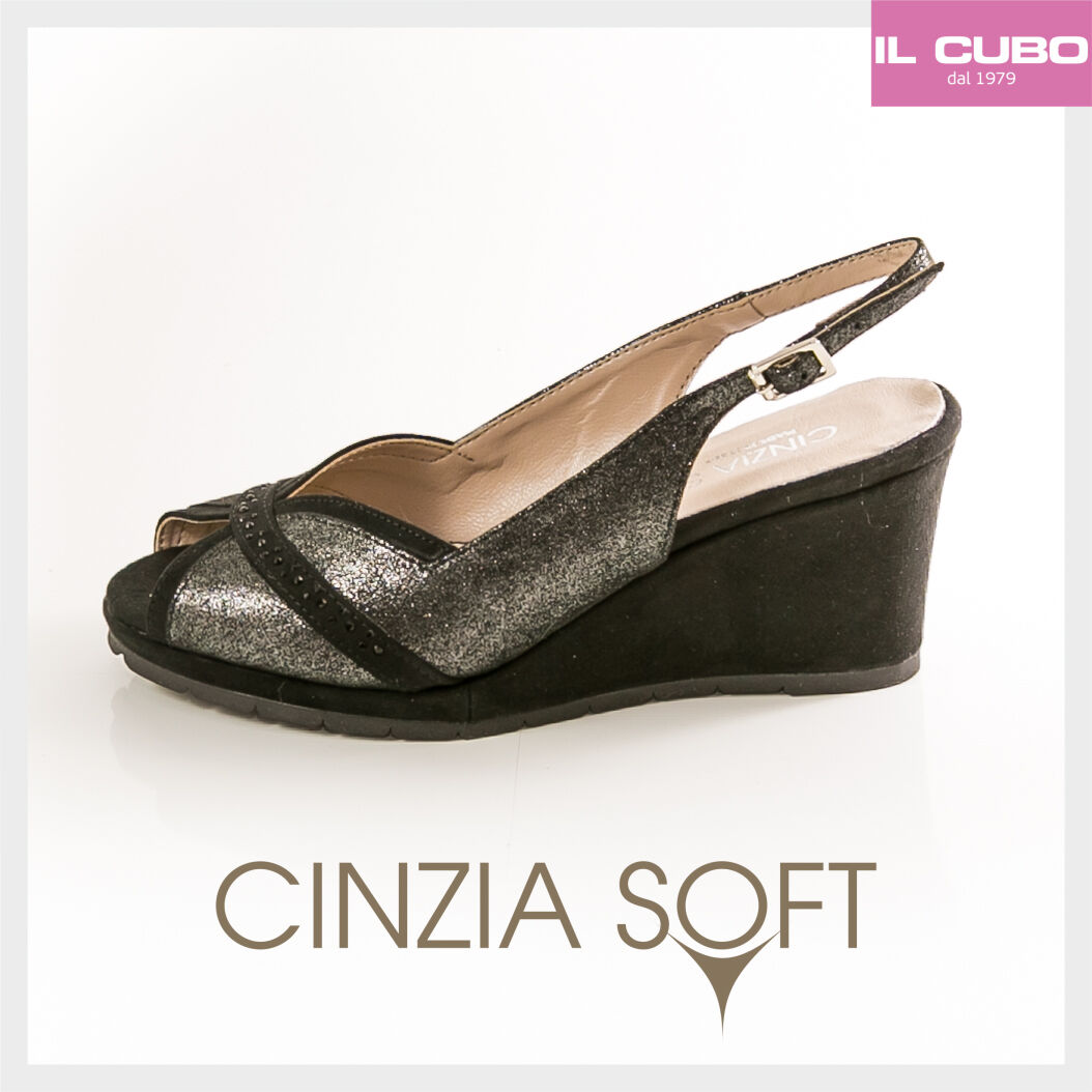 CINZIA SOFT SANDALO Damens CAMOSCIO GLITTER COLORE NERO ZEPPA H 7CM MADE IN ITALY