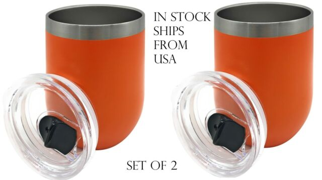 SET OF 2 Insulated Stainless Steel Tumbler With Lid 12OZ Double Wall Coffee Mugs