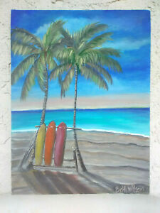 Original-Acrylic-Painting-9-034-x12-034-Canvas-Panel-Beach-Surf-Boards-Home-Decor-Art