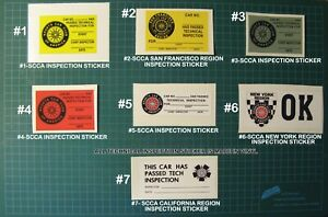 TECH-INSPECTION-VINYL-DECALS-STICKERS-SCCA-CAR-RACING-SPORTS-CAR-CLUB-OF-AMERICA