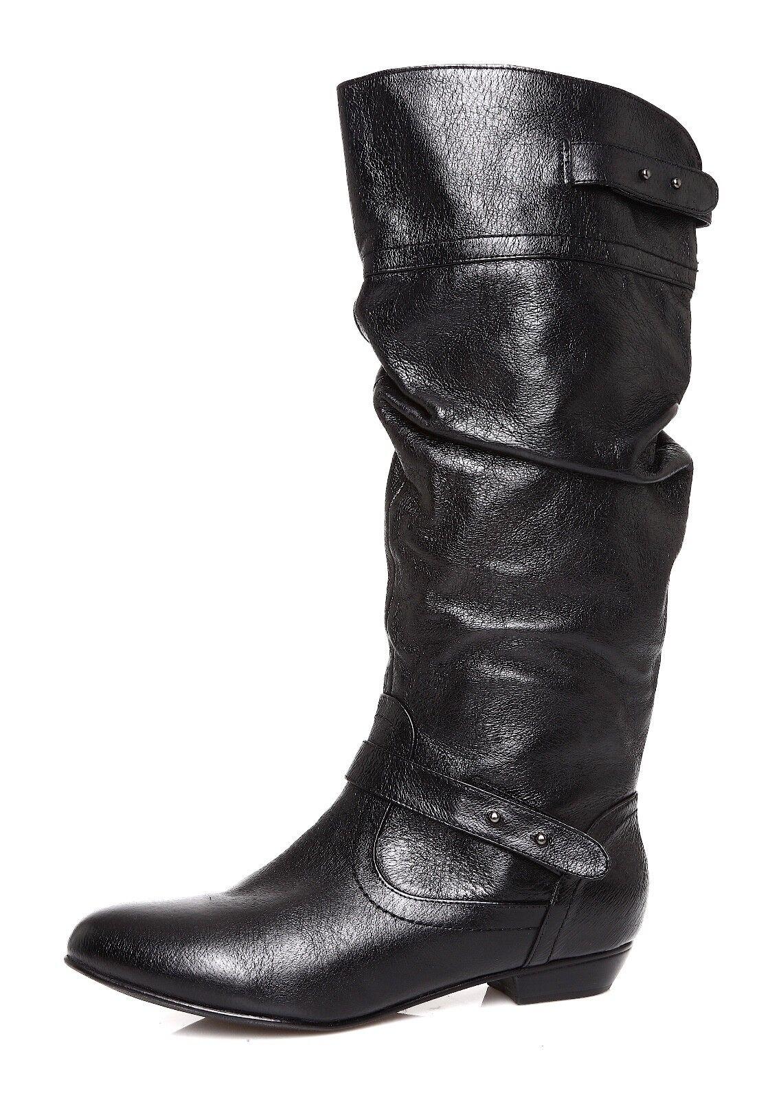 Steve Madden Kikiii Women's Black Leather Boot Sz 7.5 M 4483 *