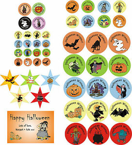 Image is loading Halloween-stickers -circular-star-shaped-rectangular-personalised-assorted