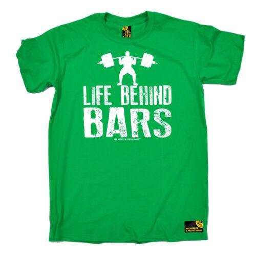 La vie derrière les barreaux Poids Levage T-shirt Musculation Entraînement Gym Cadeau D/'Anniversaire
