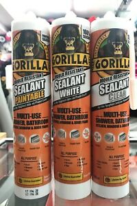 Gorilla-Sealant-WHITE-CLEAR-amp-PAINTABLE-MOULD-resistant-Multi-use-SHOWER-KITCHEN