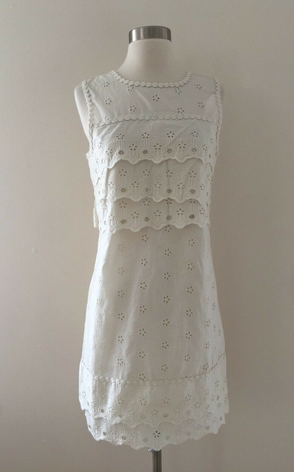 New J.Crew Tiered Eyelet Dress Lace Shift Ivory Size 00 G8475  98