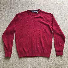 Men's Oscar De La Renta Red Burgundy Crew Neck Cable Knit Sweater XXL